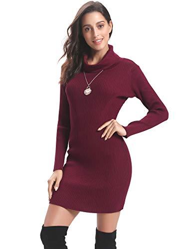 Abollria Vestito Donna Collo Alto Maglione Lungo Invernale Aderente con Manica Lunga Abito Accollato Elegante a Maglia per Primavera Inverno, Rosso Vino, L
