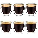 Creano Ensemble de 6 Verres à Espresso à Double Paroi, Tasse à Cafe, Verres Thermiques à Effet Flottant, Verre Expresso | 100ml