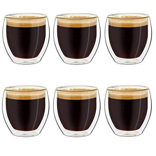 Creano Set di 6 Bicchieri da caffè Espresso a Doppia Parete, Bicchieri Termici con Effetto Galleggiante | 100ml