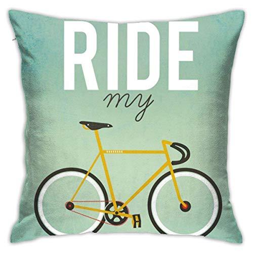 Suo Long Quiero Montar mi Bicicleta Funda de cojín de Tiro Funda de Almohada de Tiro Funda de Almohada de Tiro Cuadrado