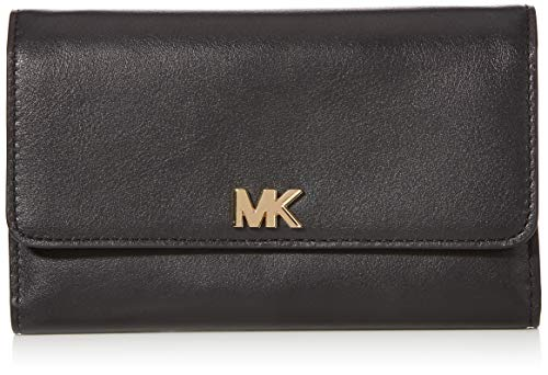 Michael Kors Damen Leather Continental Wristlet Handgelenkstasche Schwarz (Black)