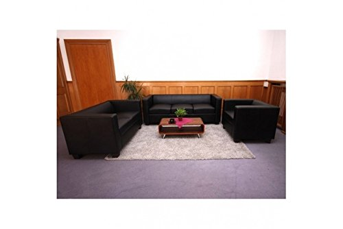 3-2-1 Sofagarnitur schwarz Spaltleder Couchgarnitur Loungesofa Couch Sofa modern