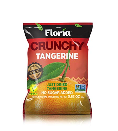Floria Crunchy REV-Dried Tangerine Crisps, Healthy on-the-go Snack, 0.63 Ounce Single Serve Bags (Pack of 10), Tangerine Slices, 100% All Natural, No Sugar Added