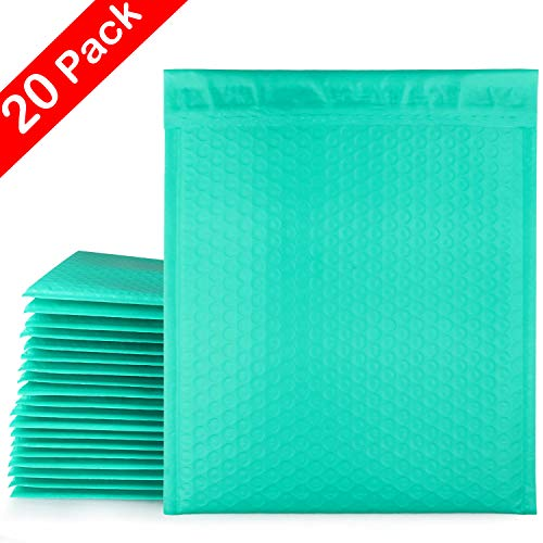 CBTONE 8.5 x 12 Inch Poly Bubble Mailers Self Seal #2 Teal Padded Envelopes Waterproof Bubble Envelopes Shipping Envelopes Mailers, 20 Pack