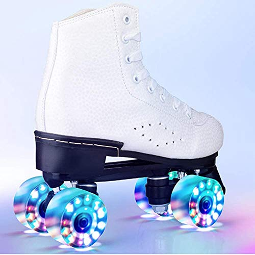 BENREN Skate Gear Cute Roller Skates for Kids and Adults, Premium Leather Rink Roller Skate, Classic Quad Skates, with All Wheels Light Up,34-White