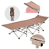 GUOSHUCHE Cama plegable para cama individual, plegable, cama reclinable para oficina, siestas, cama de campamento al aire libre, marrón, 190 x 67 x 38 cm