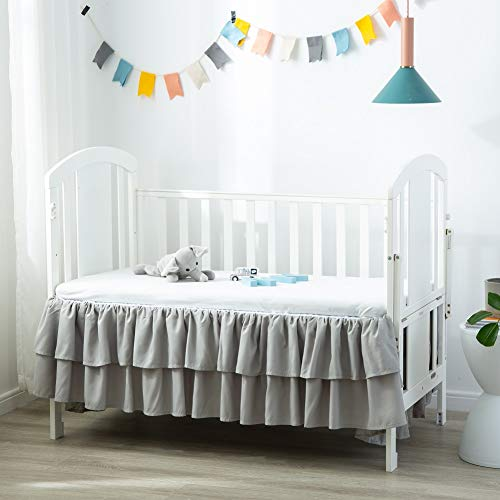 JSD Crib Bed Skirt Dust Ruffle Double Layer Brushed Microfiber Nursery Crib Toddler Bedding Skirt for Baby Boys Grey 14' Deep Drop