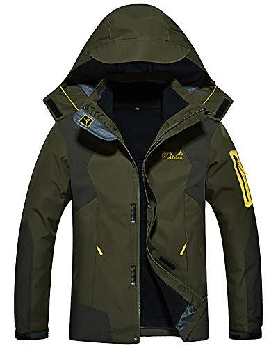 Shengwan Winter Jacke Herren 3 in 1 Wasserdicht Wanderjacke Outdoorjacke Sport Regenjacke Funktionsjacke Doppeljacke mit Kapuze Armeegrün XS
