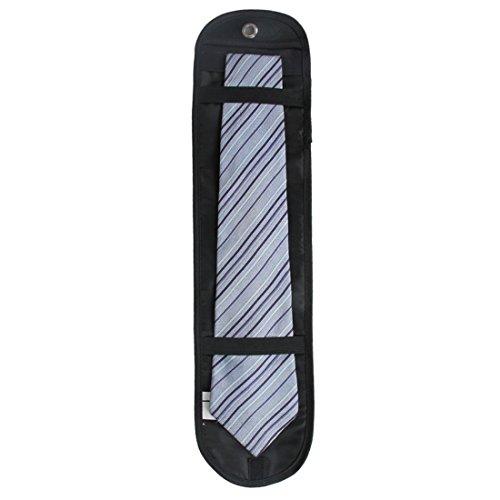 Extsud® Organizzatore da Viaggio Portacravatte, Organizer Tie Sacchetto Portatile Pieghevole di Cravatte in Nylon (Nero Singolo)