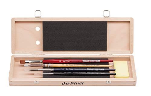 Da Vinci Serie 5279Agua Color Cepillo Set, Madera, marrón, Negro/Rojo, 30x 30x 30cm