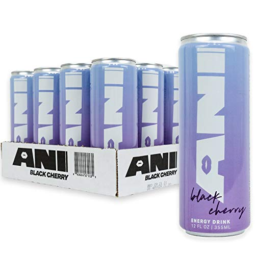 Ani Energy, Sparkling, Energy Drink, 30 Calorie, Low Sugar, 12 oz. Can (Pack of 12) - Black Cherry
