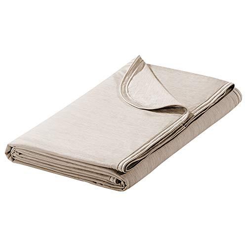 Luxear - Manta refrescante 2 en 1, de doble cara, con tecnología Arc-Chill Q-Max 0,43; fina, de verano, de algodón, para adultos y bebés, para la cama, 220 x 200 cm, de color beis
