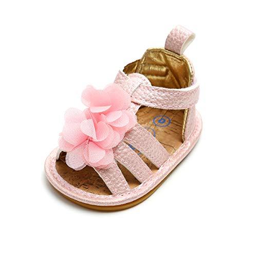 Lacofia Sandalias de Verano para bebé niñas Zapatos de Vestir de Flores de Infantiles para bebé Rosa 12-18 Meses