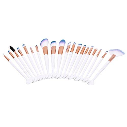 Mvude Pinceau de Maquillage Set 20 pièces Shell Forme poignée Visage Ombre à paupières Eyeliner Foundation Blush Lip pinceaux de Maquillage,Blanc BK-BMJ