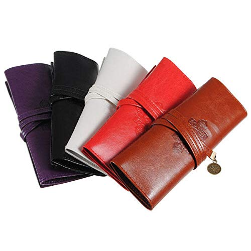 Delighted Leather Folding Strap Case Makeup Cosmetic Brush Pouch - White