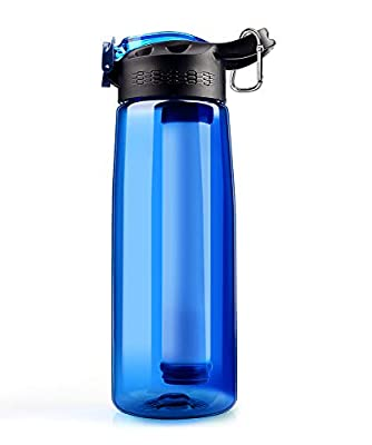 SimPure Water Filter Bottle, Emergency Water Purifier?with 4-Stage Integrated Filter Straw for Travel, Camping, Hiking, Backpacking, BPA Free