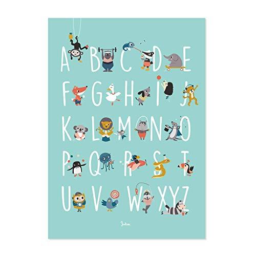 Julica Design ABC Poster für Kinder   Tiere   Alphabet Lernposter Deutsch   Buchstaben lernen im Kinderzimmer   Für Kindergarten, zum Schulanfang & 1. Klasse   Größe 50x70   + BONUS Memory