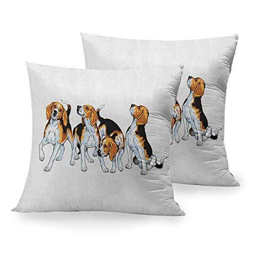 Funda de Almohada Cuadrada Beagle, Cuatro Perros Beagle Hermanos Jugando raposero I Love My Dog Breed Theme, marrón, Blanco y Negro, Silla para el hogar, decoración de la habitación