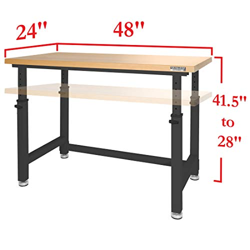 Seville Classics UltraHD Height Adjustable 4-Foot Heavy-Duty Wood Top Workbench Table, Satin Graphite