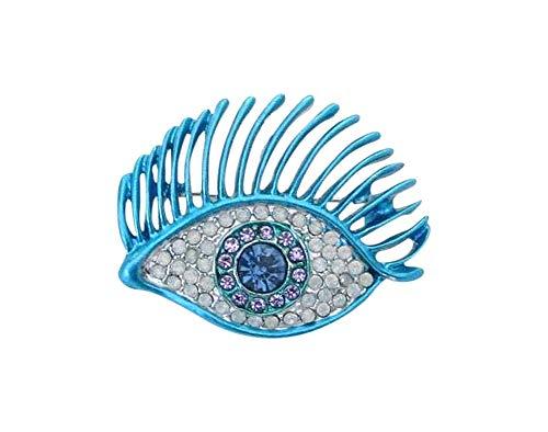 Broche de acero azul con cristales blancos.