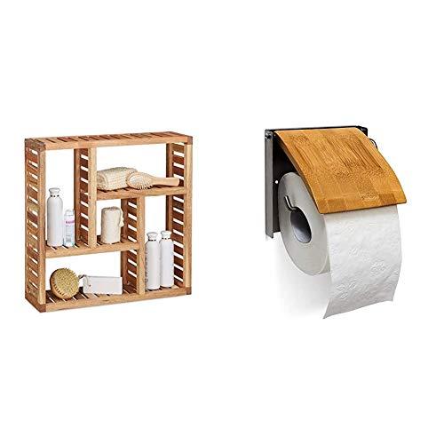 Relaxdays Wandregal Walnuss mit 5 Fächern, für Badezimmer, Flur und Wohnzimmer, Stauraum, 50 x 50 x 15 cm & 10019179 Toilettenpapierhalter 13,5 x 14,5 x 13,5 cm WC-Rollenhalter für 1 Klopapierrolle