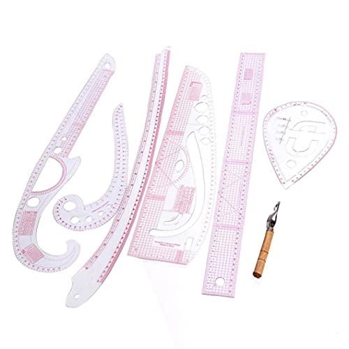 Zonster 7pcs Útiles/Herramienta De Costura Set De Plástico Cosa Confección a Medida Francesa Curva Regla Métrica Multifunción