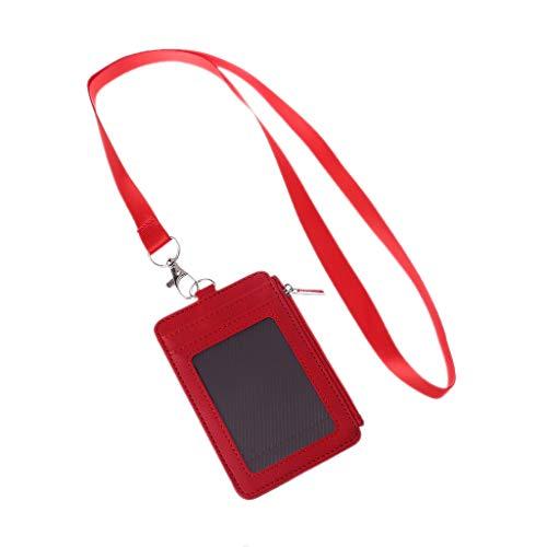 Roydoa - Funda de piel para tarjetas de identificación, tarjetero, organizador de negocios, color rosso 11.5x7.5cm