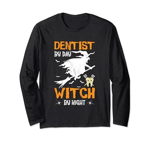 Dentista Por Da Bruja Por Noche Bruja De Halloween Odontologa Manga Larga