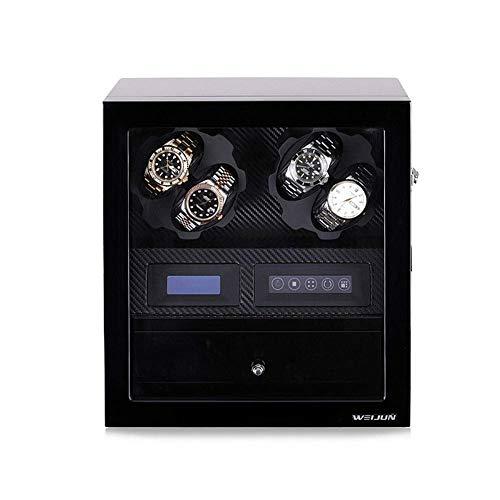 WXDP Enrollador de Reloj automático,Caja enrolladora de Madera, Giratorio para 4 Relojes y colección de 5 Relojes, 5 Modos de rotación, Adaptador de CA de