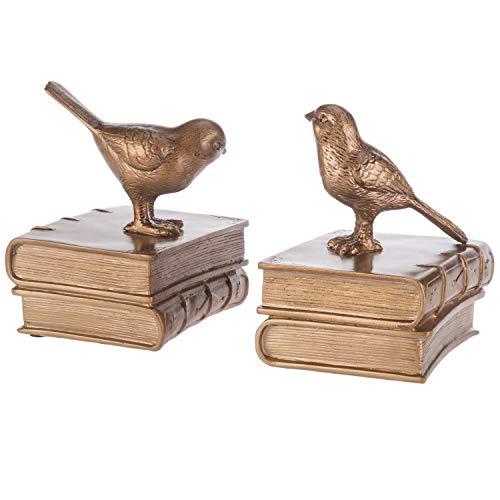 MyGift Buchstützen aus Kunstharz, Vintage-Design, Vögel und Bücher, 1 Paar