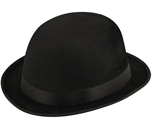 CHARLIE CHAPLIN UNISEXE VELOURS NOIR CHAPEAU MELON ACCESSOIRES DÉGUISEMENT HAT - Noir, Taille unique, One Size