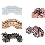 4 unids/set casa de muñecas miniaturas puente acuario tanque resina pasarela mini piedra simulada arco puente modelo paisaje palacio puente resina arco puente artesanía suculenta maceta adornos