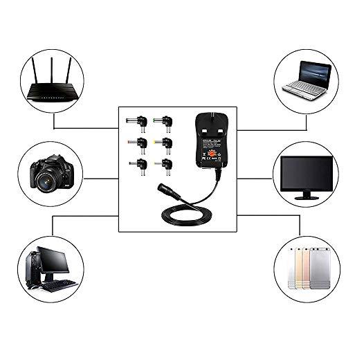30W Universal AC to DC Power Adapter 100-240V to 3V 4.5V 5V 6V 7.5V 9V 12V Multi Voltage Switching Power Supply Charger Plug for Household Electronics Routers Speakers CCTV Cameras TV box Smart Phone