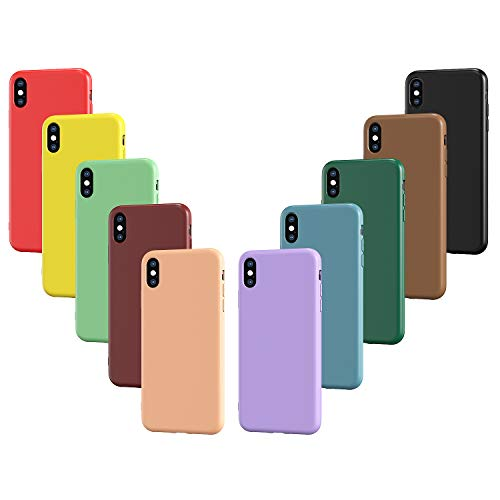 VGUARD 10x Custodia Cover per iPhone XS Max, Ultra Sottile Morbido TPU Silicone Custodie Gel Case (Nero, Verde Scuro, Verde Chiaro, Blu, Arancione, Rosso Vino, Rosso, Giallo, Viola, Marrone)