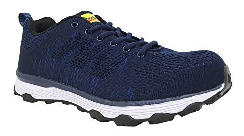 Overstone Men's 4'' Steel Toe Athletic Shoes, Work Safety Sneakers, Lightweight Industrial & Construction Shoe (8.5, Blue)