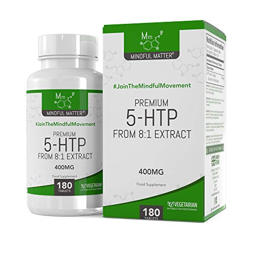 Mindful Matter 5-HTP | 400mg Griffonia Seed Extract | Sleep Aid & Mood Enhancer Vegan Supplements | Non - GMO, Dairy Free & Gluten Free | 180 Tablets