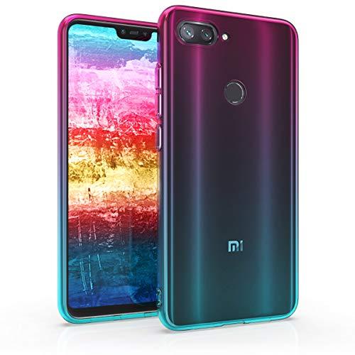 kwmobile Hülle kompatibel mit Xiaomi Mi 8 Lite - Hülle Handy - Handyhülle Zwei Farben Pink Blau Transparent