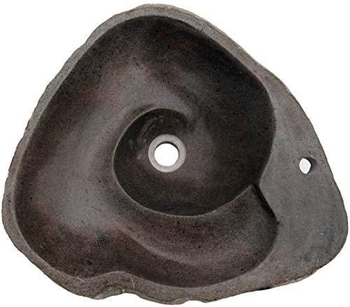Guru-Shop Lavabo Superior de Piedra de río Maciza, Lavabo, Lavamanos de Piedra Natural con Desagüe en Espiral de Aprox. 50 cm - Modelo 1, Gris, Lavabos, Lavamanos Bañeras