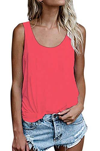 Damen Shirts Ärmellose Sommer Tunika Loose Fit Tank Tops (786Wassermelonenrot, Small)