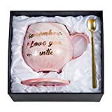 Oyiyou Aunt Mug Gifts - Remember I Love You Auntie Coffee Mug - Pink Marble Ceramic Coffee Cup 14oz and Coasters