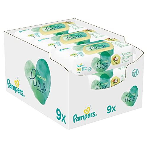 Pampers Coconut Pure Baby Feuchttücher, 378 Tücher (9 x 42) Mit Kokosnussöl Zur Reinigung Und Feuchtigkeitspflege, Baby Erstausstattung Für Neugeborene