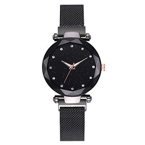 Msltely Relojes de mujer de lujo Reloj de cielo estrellado con imán de superficie geométrica para mujer Reloj de diamantes (color negro)