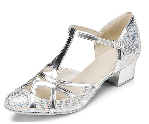 Minitoo qj6133Damen Geschlossen Zehen High Heel PU Leder Glitzer Salsa Tango Ballsaal Latin t-strap Dance Schuhe, Schwarz Silver-3.5cm Chunky Heel ,41 EU/7.5 UK