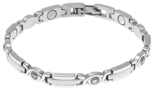 Lowest Price! Sabona Lady Executive Silver Gem Magnetic Bracelet, Size Small