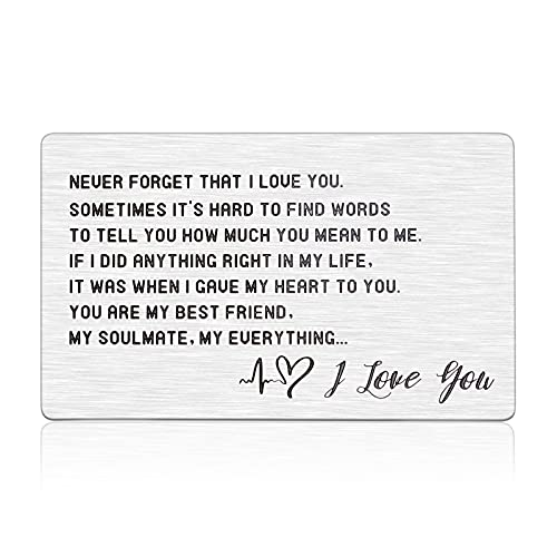 Anniversary Metal Wallet Card Insert Gifts Boyfriend Birthday Graduation Wedding Engagement Gifts for Him Engraved I Love You Gifts for Husband Groom from Girlfriend Wife Bride Lover Fiancee