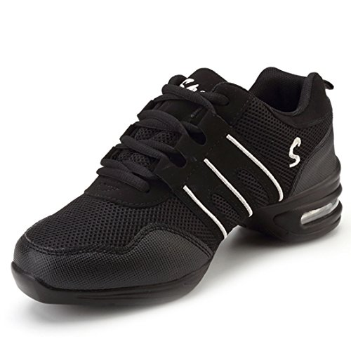 YIBLBOX Womens Mesh Ballroom Dance Sneaker Trainers Lightweight Jazz Heel Shoes