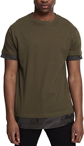 Urban Classics Long Shaped Inset Tee T-Shirt, Multicolore (Olive/Dark Camo 01238), M Homme