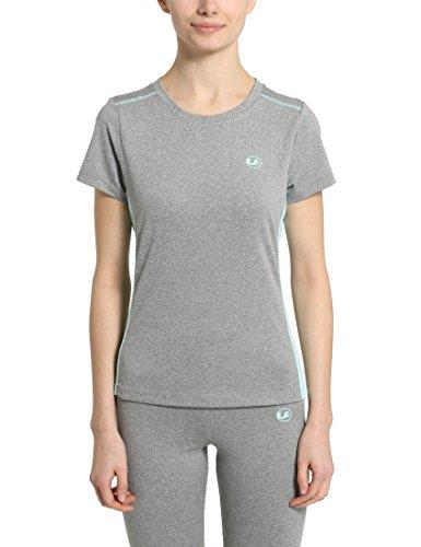 Ultrasport Fitness/Sport Shirt Femme, Gris-Mélange/Aqua, Small