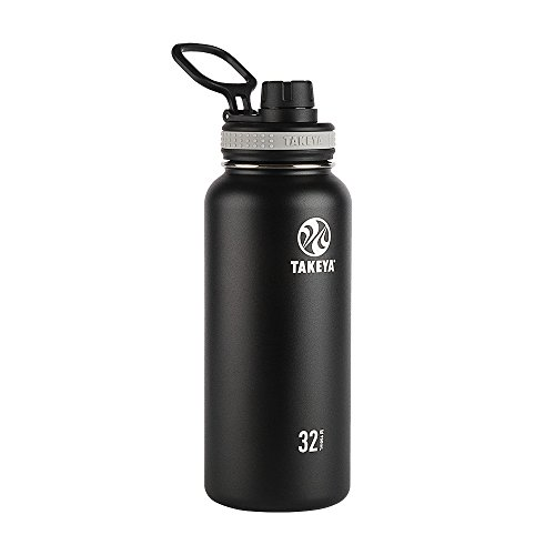 Takeya 50011, Black Originals Vacuum-Insulated Stainless-Steel Water Bottle, 32oz, 32 oz