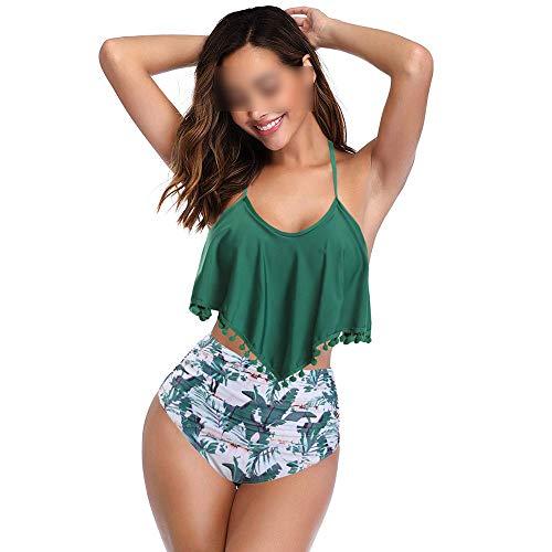 Elisha's house Femmes 2 Pièce À Volants Gland Garniture Haut Halter Dos Bikini Crop avec Taille Haute Palm Feuilles Imprimé Bas,Green,M